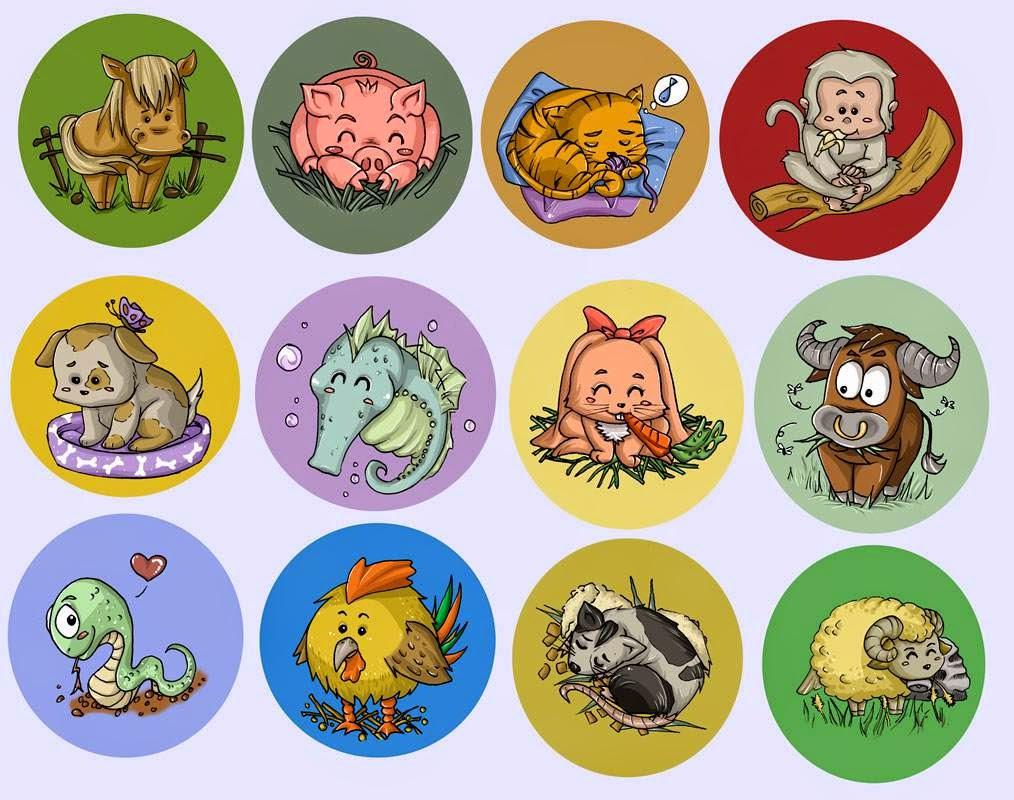 Botones del Zodiaco Chino Caricatura