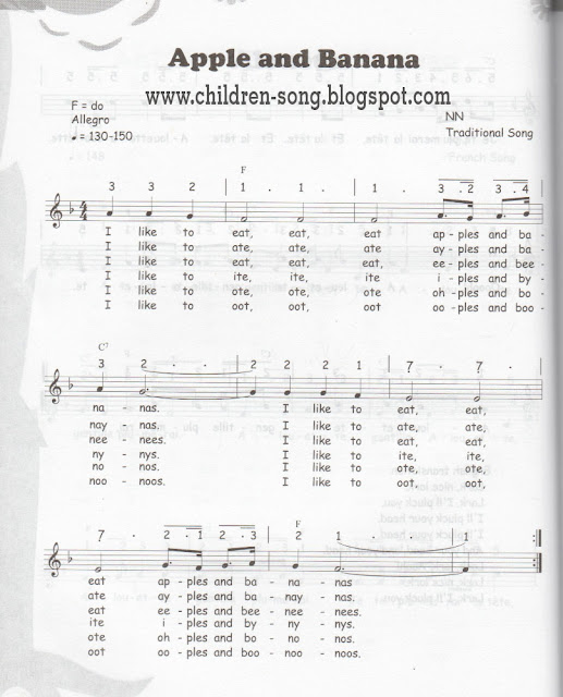 Apple and Bananas Children Song with Notes