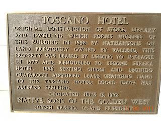 plaque at Toscano hotel in sonoma