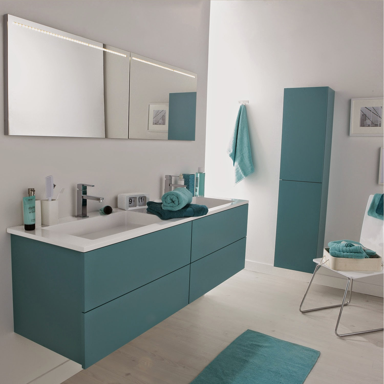 Meuble salle de bain 2 vasques bleu meuble d coration maison for Salle de bain 16m2