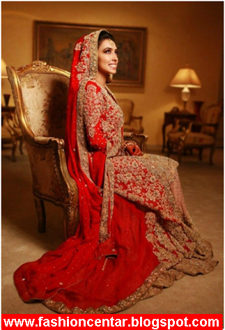 Pakistani Red Color Bridal Dresses 2013