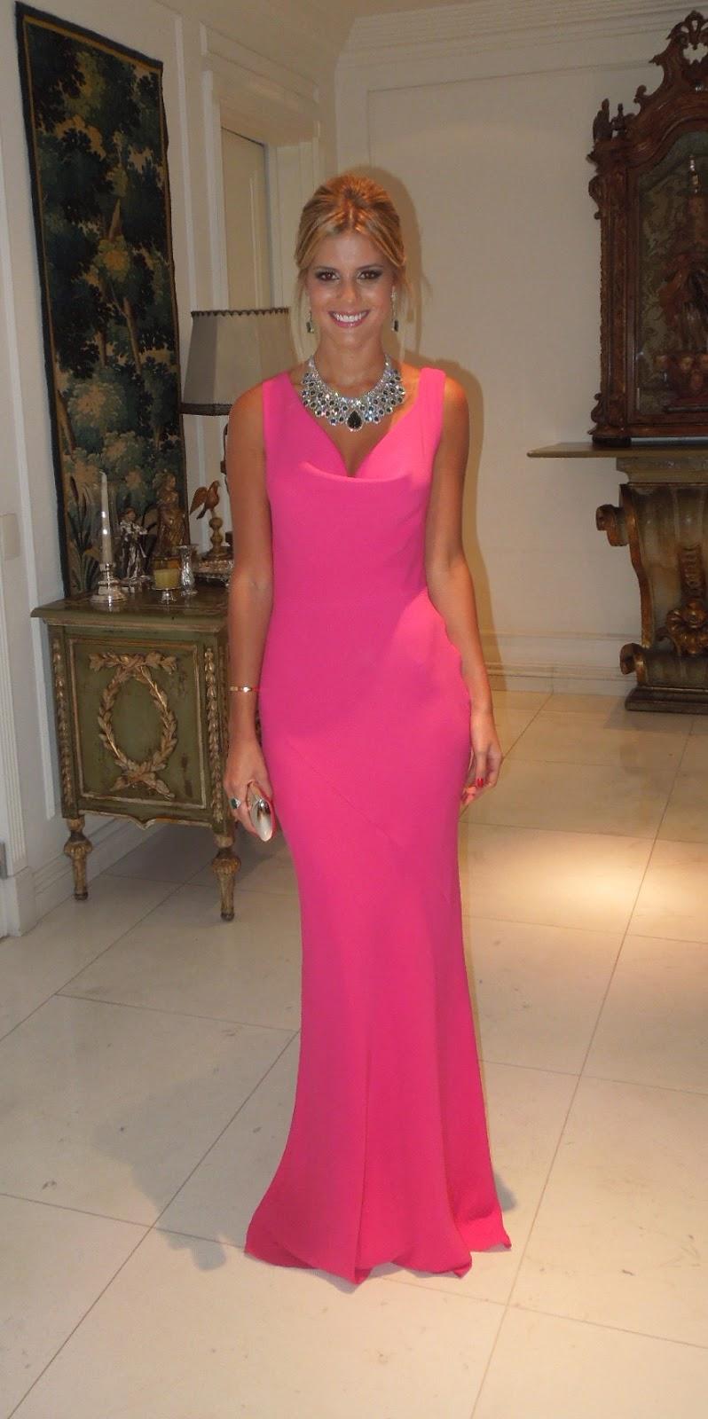 Vestido rosa joia verde