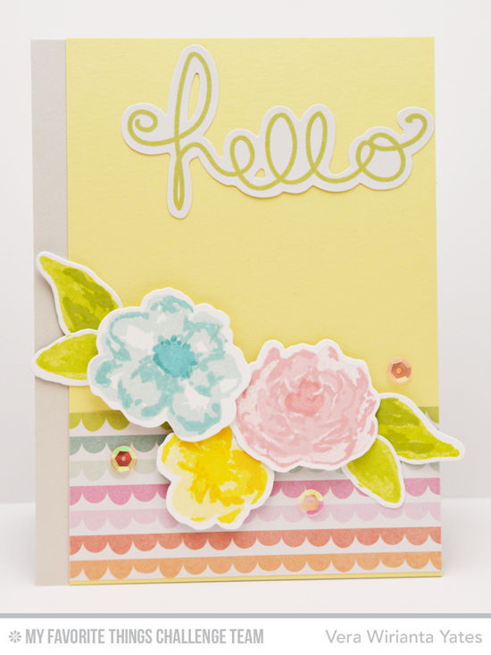 Watercolor Flower Hello Card by Vera Wirianta Yates featuring the Watercolor Flowers stamp set and Die-namics