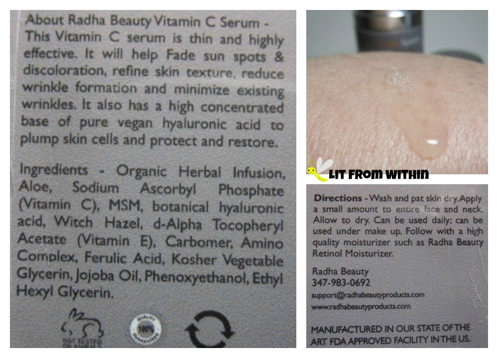 Radha Beauty Vitamin C Serum directions and ingredients