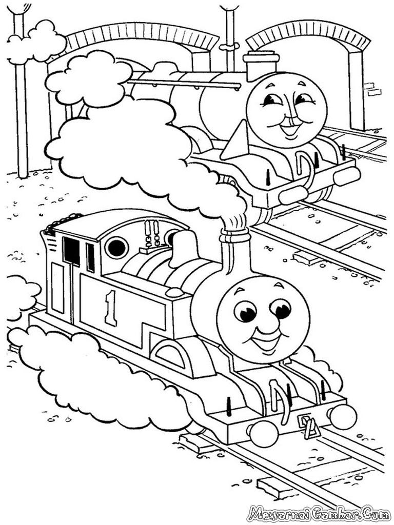 Mewarnai Gambar Kereta Di Stasiun