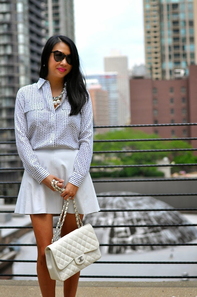Dots and White Skirt and Chanel White Bag