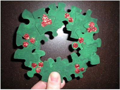 Puzzle piece wreath ornament 1