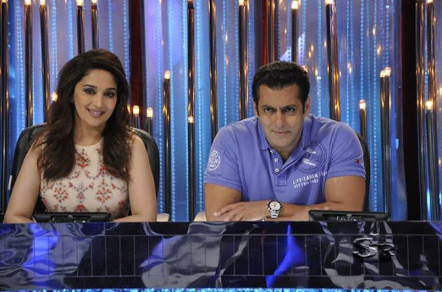 Salman Khan and Madhuri Dixit on Jhalak Dikhla jaa to promote Bigg Boss 7