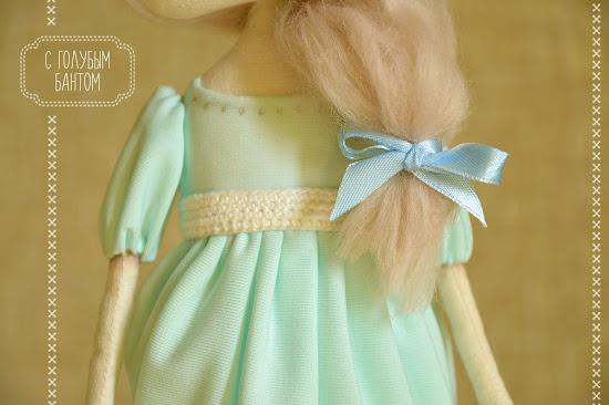 Текстильная кукла, тыквоголовка, платье
