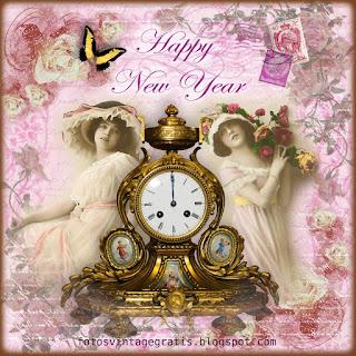 damas vintage con reloj antiguo sobre fondo de rosas