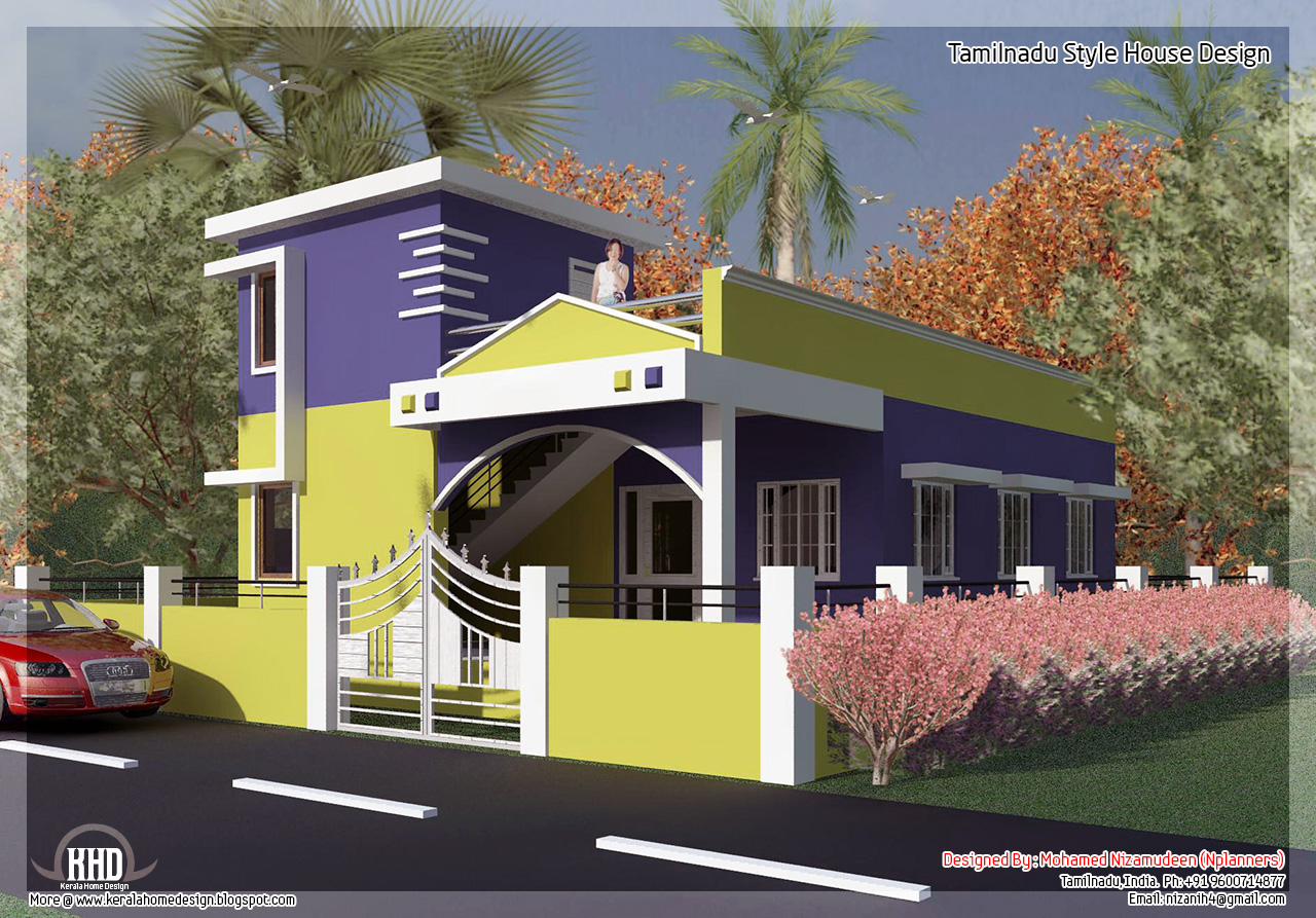 875 2 bedroom single floor home design a taste for Tamilnadu home design photos