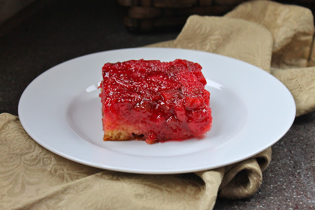 Strawberry Rhubarb Upside-Down Cake via The Taste Tester