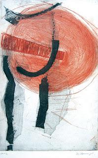 Uschi Krempel:o.T.,  Farbradierung auf Kupferdruckpapier, 20 x 32 cm, 2012