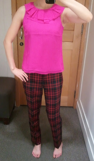 J. Crew Gabby Top in Vibrant Fuchsia and plaid wool Cafe Capri