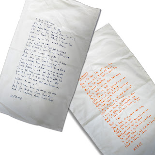 Pillowcases with lyrics from KEANE printed onto them