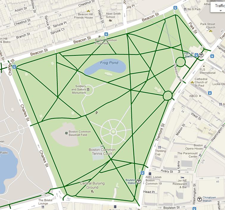 Calm Streets Boston Bicycling Around Or Through Boston Common And - Boston common map