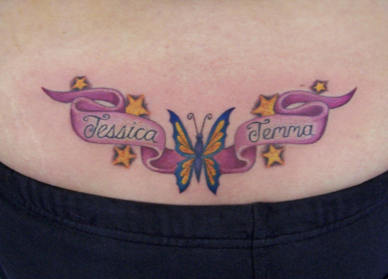 mixentry lower back name tattoos for women