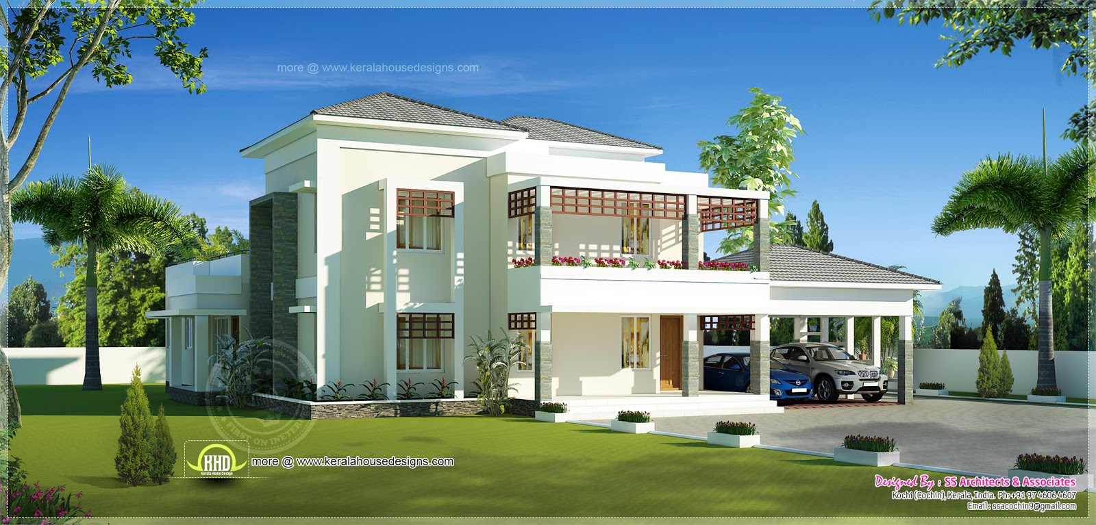 Beautiful double storey modern villa exterior kerala for Beautiful villa design