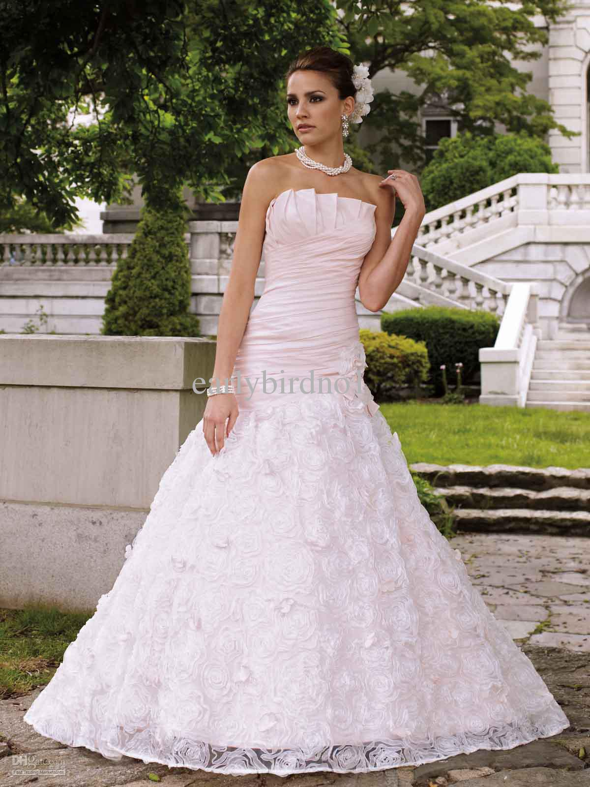 Valentine strapless pink red and white satin beadings for Red and white wedding dresses 2012
