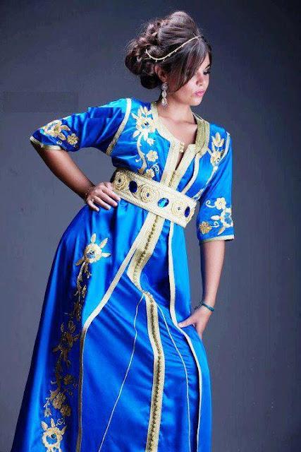caftan marocain, caftan bleu 2013