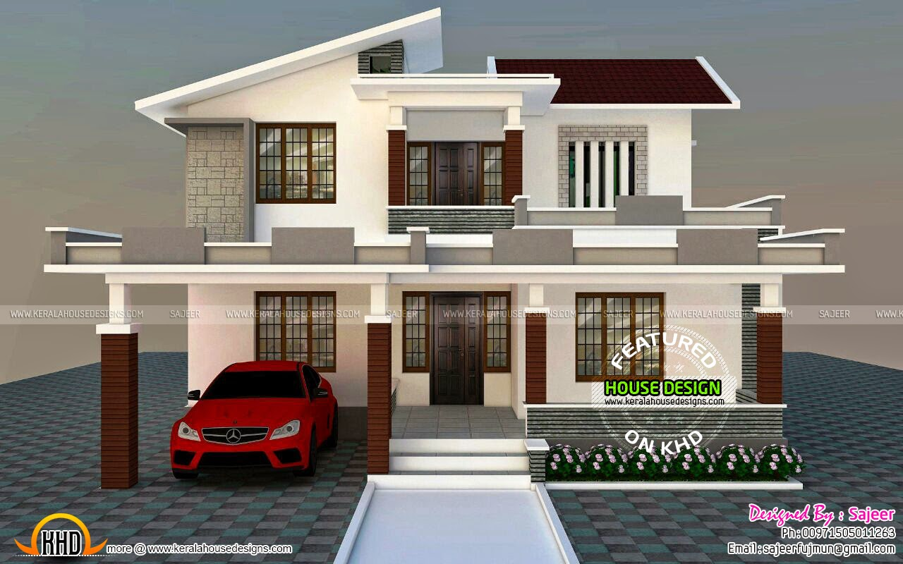 Low cost contemporary style villa kerala home design and for Kerala home design flat roof elevation