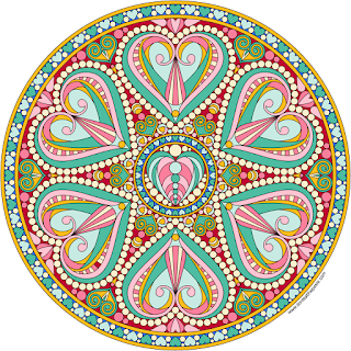 Valentine mandala with a blank version to color