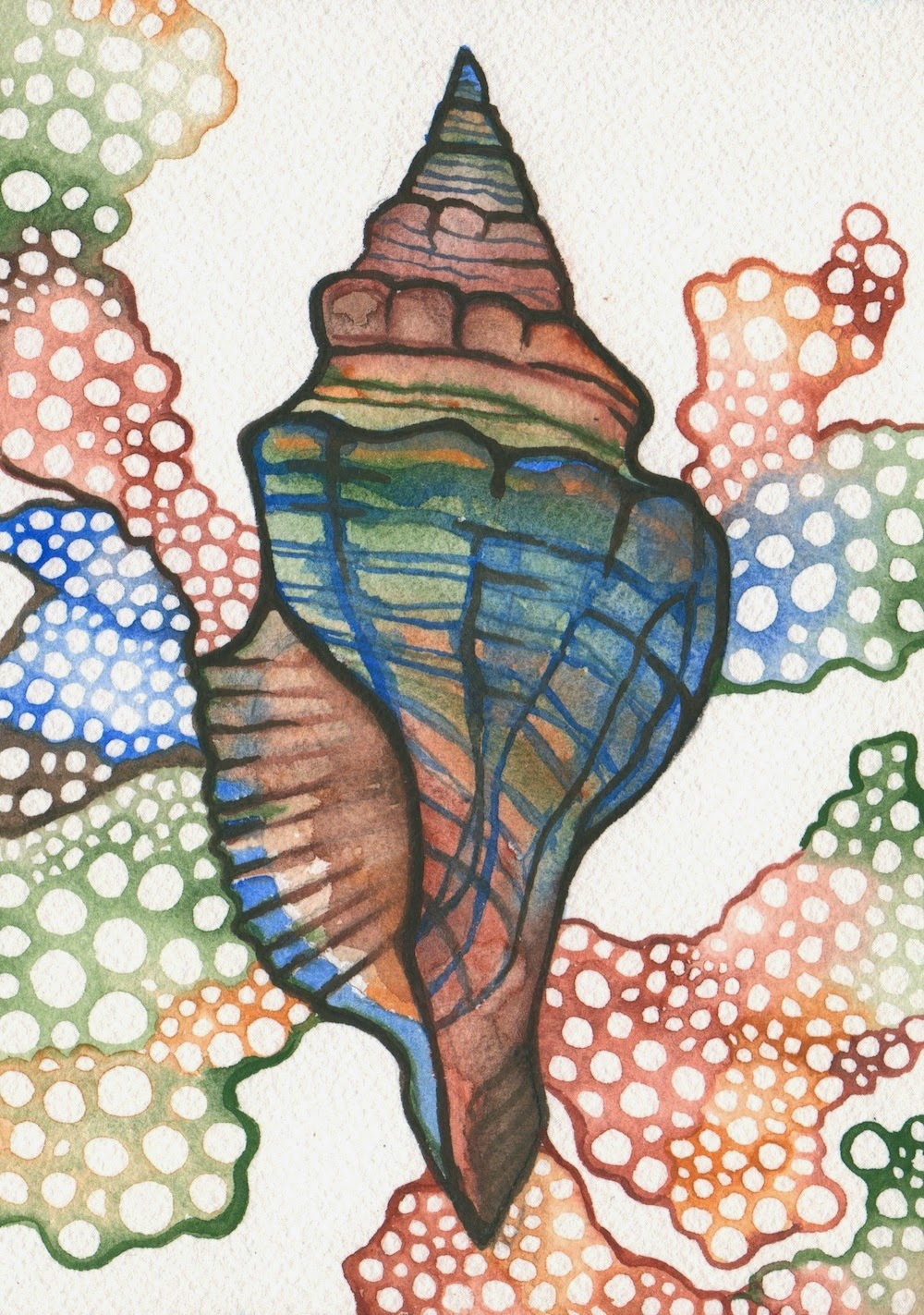 """EARTH COLOUR SHELL"" Tamara Philips 2014 Colors of Nature paint on watercolor paper"