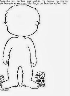 atividades educação infantil, corpo humano, recortar, montar, colar,menino