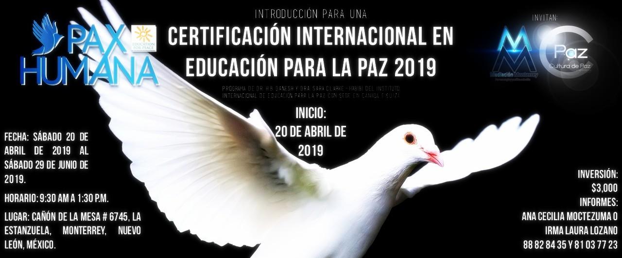 Certificación Internacional en Educación para la Paz 2019