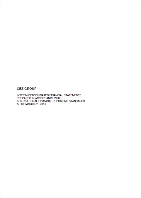 Cez, report, Q1, 2014, front page
