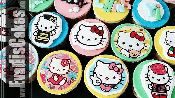Close view picture of Hello Kitty edible image cupcakes