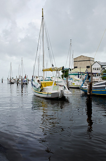 Boats in Belize City River