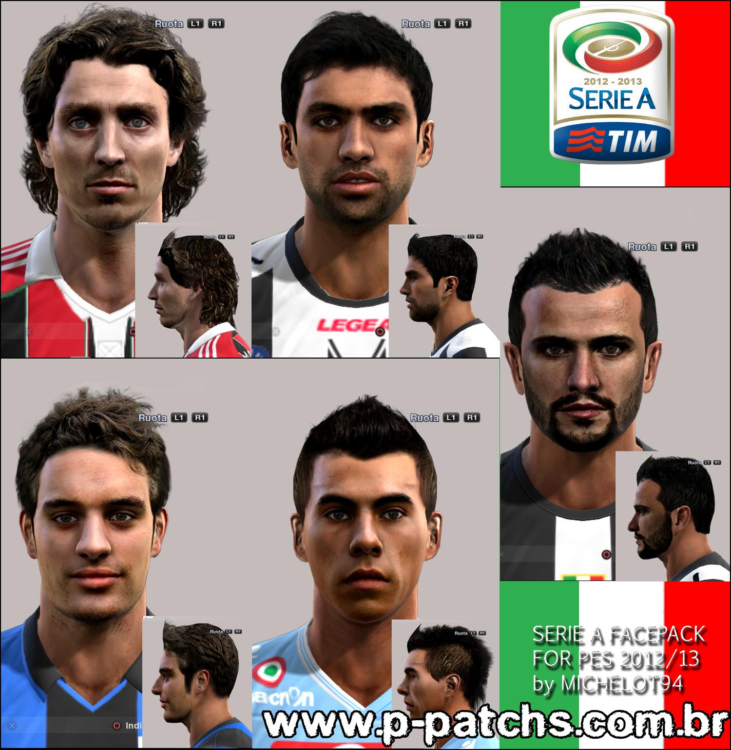 Montolivo, Danilo, Bonaventura, Eduardo Vargas e Simone Pepe Faces - PES 2013