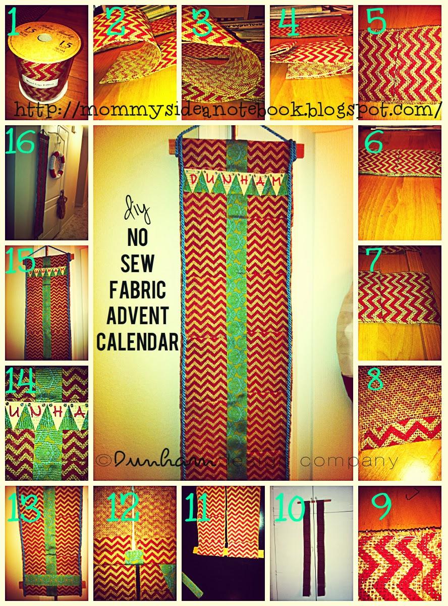 Diy Sewing Advent Calendar : Dunham design company diy no sew fabric advent calendar