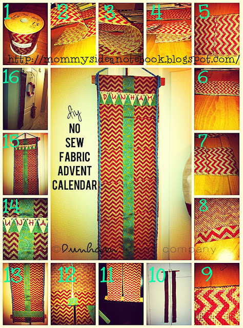Diy Sewing Advent Calendar : Dunham design company diy no sew fabric advent calendar