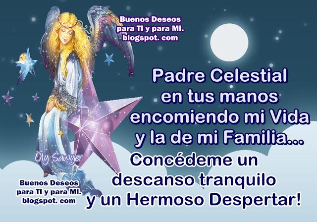 Padre Celestial en tus manos encomiendo mi Vida y la de mi Familia... Concédeme un descanso tranquilo y un Hermoso Despertar !