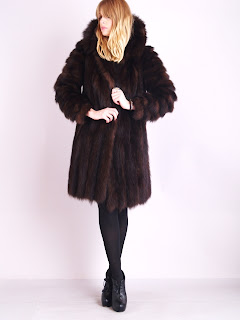 Vintage 1960's dark brown Russian sable mink fur coat with scalloped hemline.