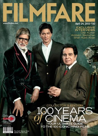 Dilip Kumar, Amitabh Bachchan and Shah Rukh Khan on the cover of Filmfare