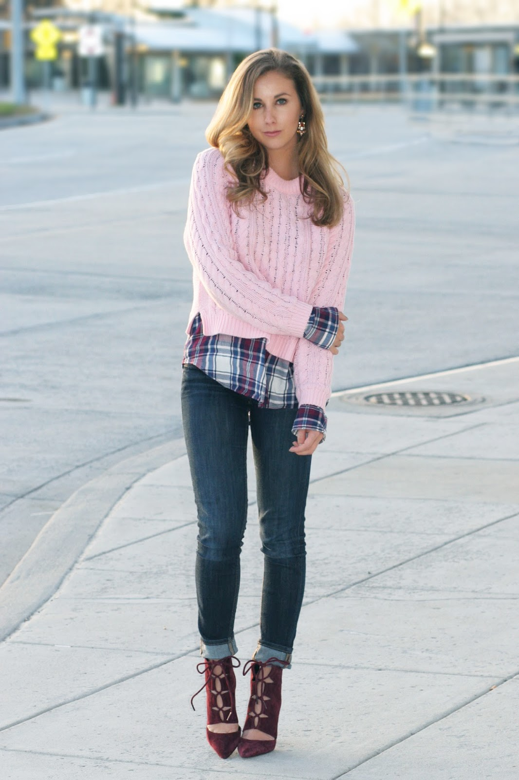 pink-cable-knit-sweater-for-winter-layered-with-plaid-top
