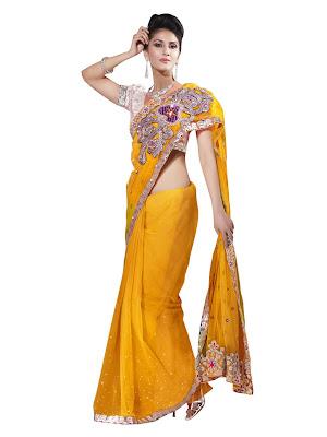 Indian Women Yellow Fashion Sari images 1080 1440 mini