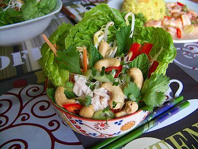 ensalada vietnamita de pollo con anacardos