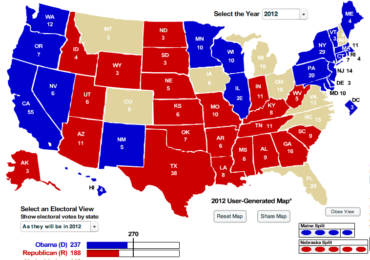 The Blue Analysis 2012 Electoral Map