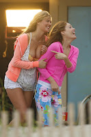 Kate Upton and Leslie Mann on the set of The Other Woman