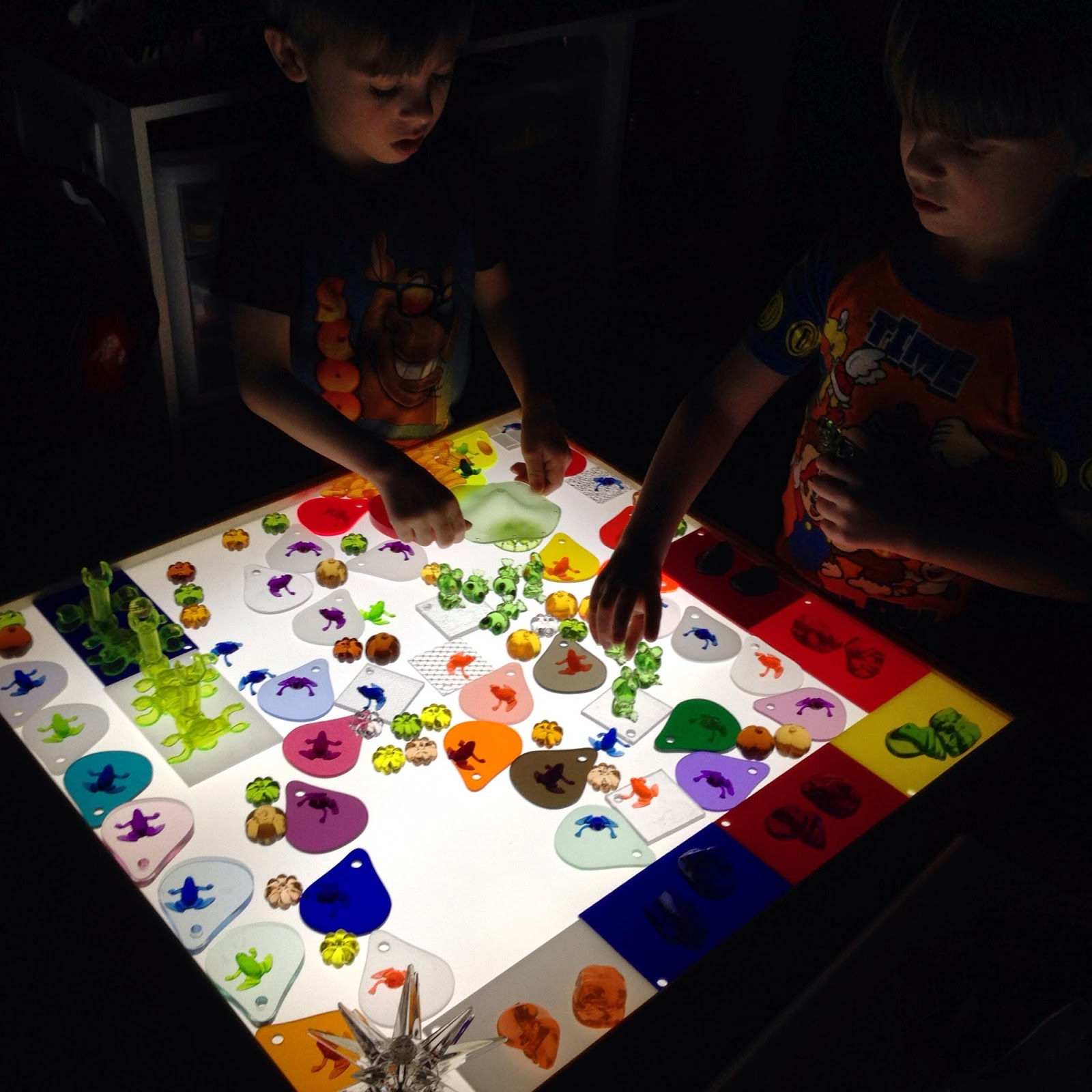 playing on the light table