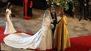 Catherine Middleton with her father Michael Middleton at Westminster Abbey for her wedding to Prince William