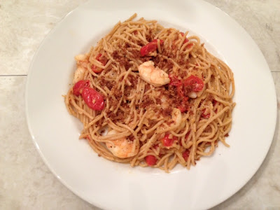 Spaghetti al Limone With Blistered Tomatoes, Shrimp & Bread Crumbs Recipe