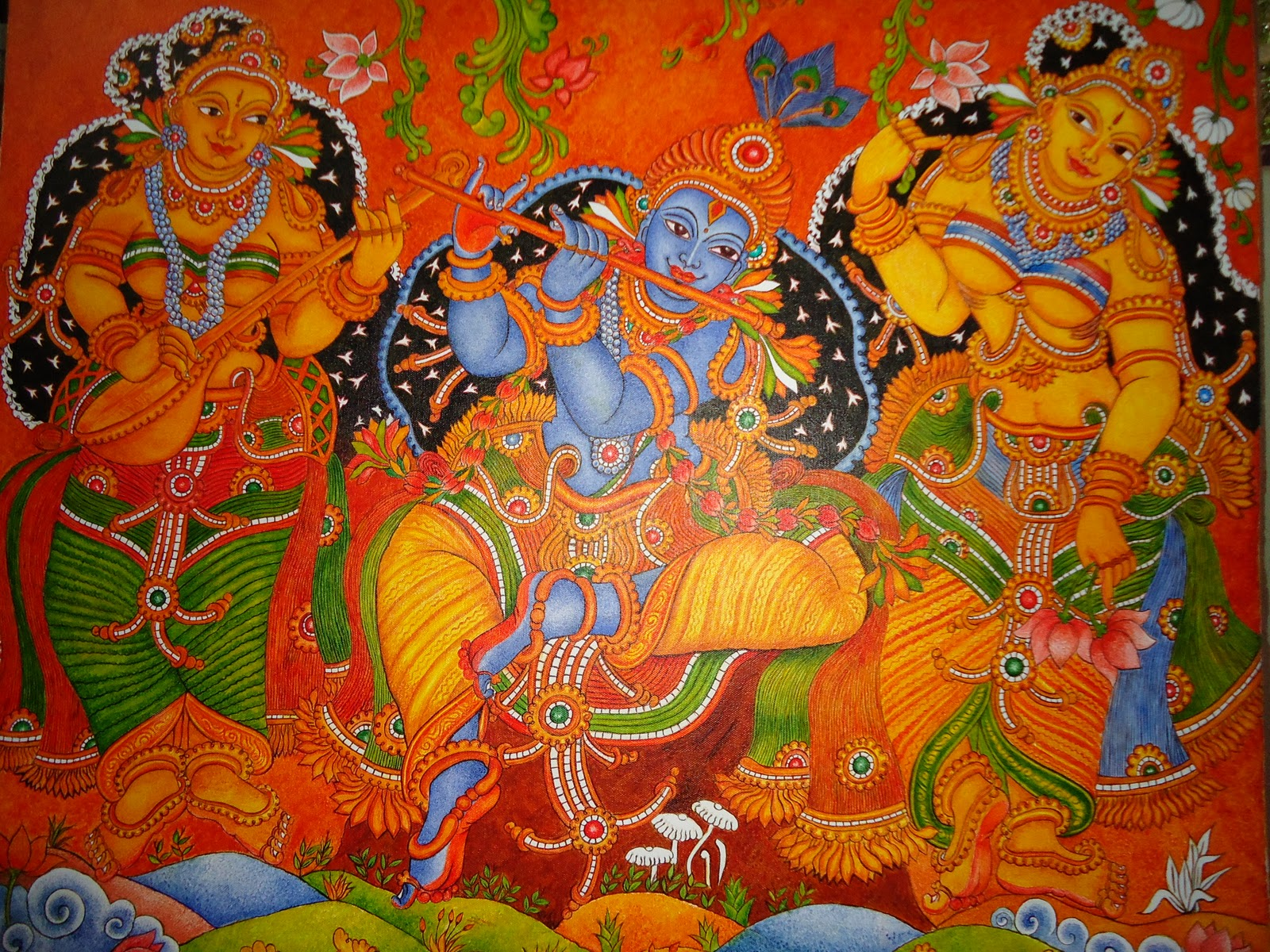 My talent mural painting krishna among gopikas for Mural radha krishna