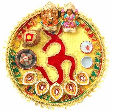Diwali puja thali diwali pooja thali decoration ideas for Aarti thali decoration designs