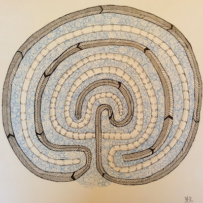 classical labyrinth, printemps, meer, striping, Zentangle Inspired Art, Helen Rowlands, Light To Go Places