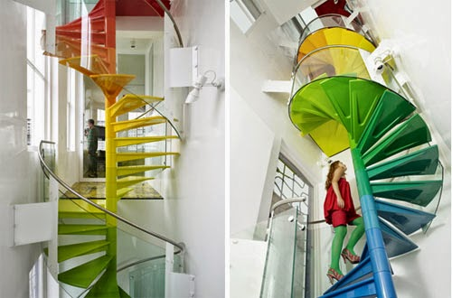 spiral stairs , colored stairs
